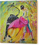 Bullfighting In Neon Light 01 Wood Print