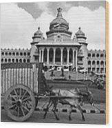 Bullock Cart And Building Wood Print