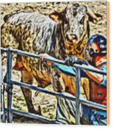 Bullrider And His Bull Wood Print