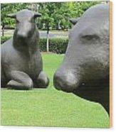 Bulls 2 Wood Print by Randall Weidner