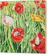 Bunch Of Poppies II Wood Print