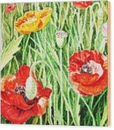 Bunch Of Poppies IIi Wood Print