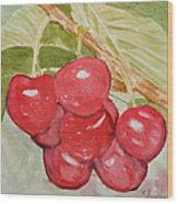Bunch Of Red Cherries Wood Print