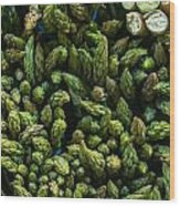 Bunches Of Asparagus On Display At The Farmers Market Wood Print
