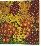 Bunches Of Yellow Copper Orange Red Maroon - Hot Autumn Abundance Wood Print