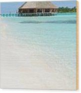 Bungalow Architecture And Beach On A Maldivian Island Wood Print