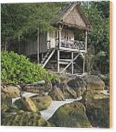 Bungalow In Koh Rong Island Beach In Cambodia Wood Print