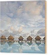 Bungalows Over Ocean II Wood Print