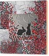 Bunnies In Blossom Wood Print