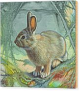 Bunny In Abstract Wood Print