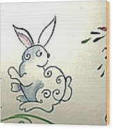 Bunny In The Carrot Patch Wood Print