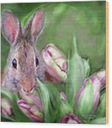Bunny In The Tulips Wood Print