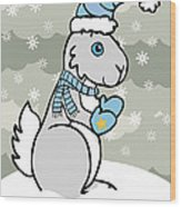 Bunny Winter Wood Print by Christy Beckwith