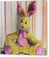 Bunny With Pink Ears Wood Print
