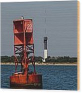 Buoy To Lighthouse Wood Print