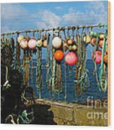 Buoys And Pots In Sennen Cove Wood Print