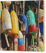 Buoys From Russell's Lobsters Wood Print