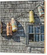 Buoys On A Wall At Peggys Cove Wood Print