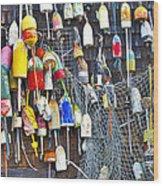 Buoys On Wall - Cape Neddick - Maine Wood Print