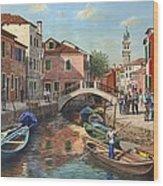 Burano Canal Venice Wood Print