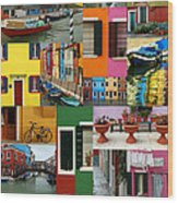 Burano Italy Collage Wood Print