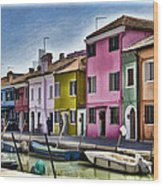 Burano Italy - Colorful Homes Wood Print