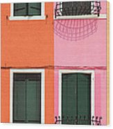 Burano Pink And Orange Wood Print