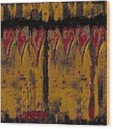 Burgandy Hearts On Gold Wood Print