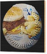 Burger And Fries Baseball Square Wood Print