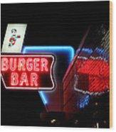 Burger Bar Neon Diner Sign At Night Wood Print
