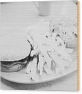 Burger Crinkle Cut Fries And Salad In A Cheap Diner In North America Wood Print by Joe Fox