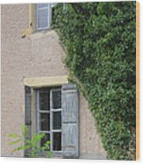 Wood Shutters With Vine Wood Print