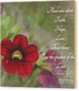Burgundy Calibrochoa Greeting Card With Verse Wood Print