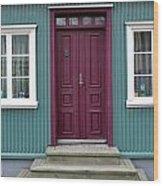 Burgundy Iceland Door Wood Print