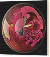Burgundy Orchids In A Glass Globe Wood Print