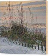 Buried Fence And Sea Oats Sunrise Wood Print
