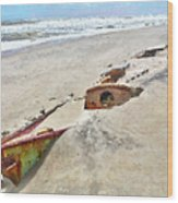 Buried Treasure - Shipwreck On The Outer Banks I Wood Print