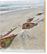 Buried Treasure - Shipwreck On The Outer Banks II Wood Print by Dan Carmichael