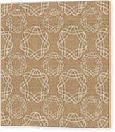 Burlap And White Geometric Flowers Wood Print