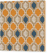 Burlap Blue And Orange Design Wood Print
