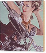 Burlesque Biker -portrait Wood Print