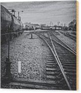 Burlington Vermont Train Yard Vintage Grunge Black And White Wood Print