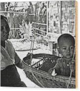 Burmese Grandmother And Grandchild Wood Print