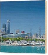 Burnham Harbor And The Chicago Skyline Wood Print by Kristopher Kettner