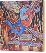 Burnin' Blue Spirit Wood Print by Robert Ponzio