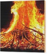 Burning Branches Wood Print