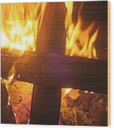 Burning Cross Wood Print