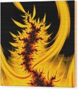Burning Fractal Fire Warm Orange Flames Black Background Wood Print