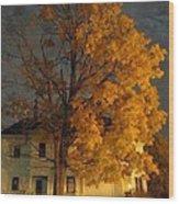 Burning Leaves At Night Wood Print
