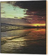 Burning Night On Siesta Key II Wood Print by Alison Maddex